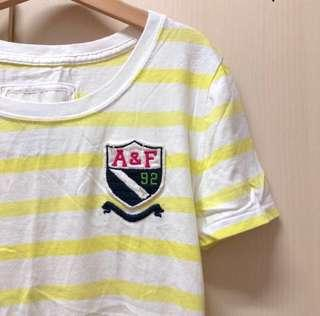 Abercrombie & Fitch strip top A&F anf T yellow and white shirt size s 黃色 白色 間條 修身 短袖 上衣