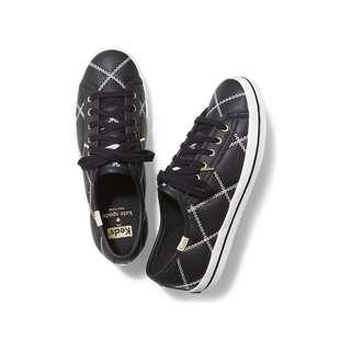 Kate Spade x Keds Black White Quilted Leather Sneaker Shoes - Size 38 - EUC Worn Once