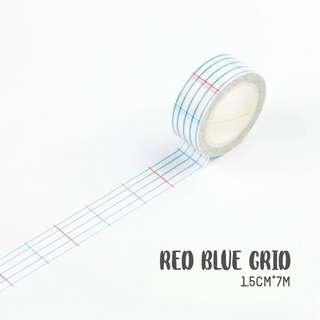 [PO] red blue grid washi tape