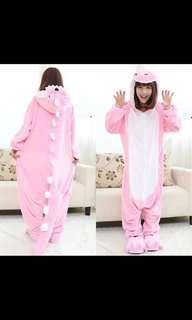 連埋鞋 睡衣套裝 可愛 粉紅色 恐龍