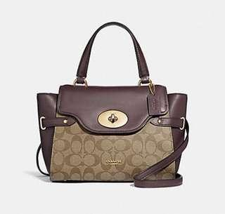AUTHENTIC COACH BLAKE FLAP CARRYALL IN COLORBLOCK SIGNATURE CANVAS