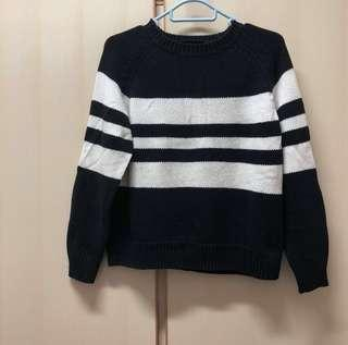 Monki black white stripped top sweater knit knitwear size xxs 黑白 間條 針織 修身 上衣 短袖