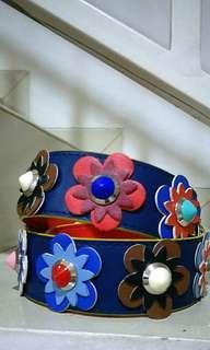 Preloved Long strap fendi kulit asli blue floral studded. High quality