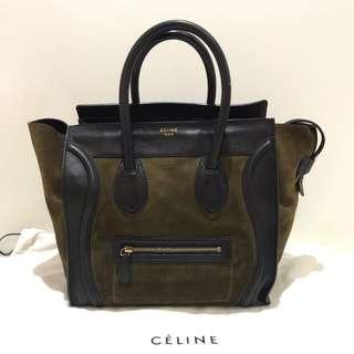 Celine Luggage Mini Black Suede