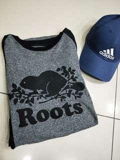 Roots灰黑拼接上衣