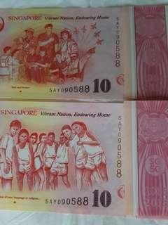 """📕SOLD after RESERVED NOTES 🆎 Collective items for higher future values. 🆎 We can see  """"SG50""""  printed in every piece of special $10 notes"""