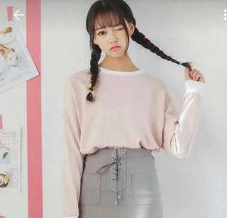 🚚 (INSTOCK) ULZZANG KOREAN PINK LONG SLEEVED PULLOVER TOP