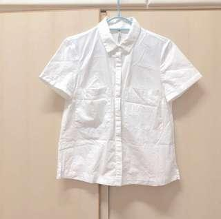 Stradivarius white shirt top size s 白色 文青 短袖 襯衫 恤衫