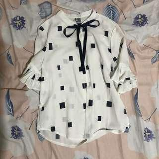 🚚 BLUE RIBBON TIE BLOUSE ULZZANG