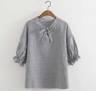 🚚 (INSTOCK) Gingham Checkered Tie Ribbon Blouse Top
