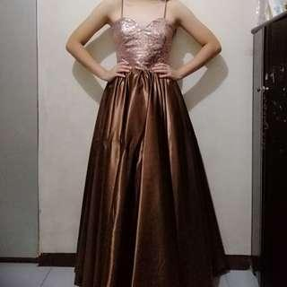 Spaghetti strap sequin prom dress/ gown for rent