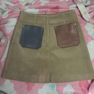 Velvet Skirt with Leather Pockets