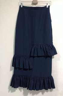 Mimpikita Tiered Ruffle Skirt in Navy Blue