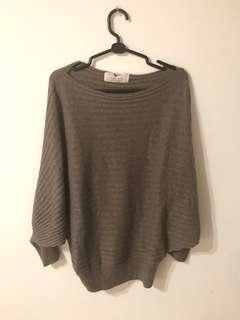 🚚 咖啡色 摩卡可可色 飛鼠袖造型毛衣 咖色針織毛衣