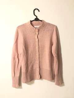 專櫃品 豆沙色排扣針織毛衣 粉色排扣開襟外套