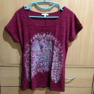 Maroon Printed Peacock Shirt