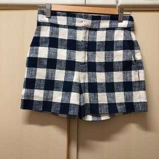 Zara navy blue pocket high-rise shorts 深藍 藍色 格子 有袋 高腰 短褲 Made in Morocco