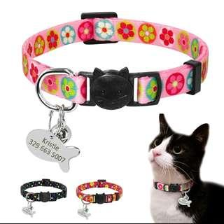 Personalized Quick Release Pet Collar Engraving Fish ID Tag For Cats