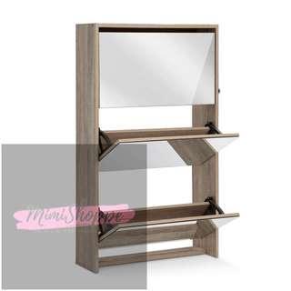 Elliot 3 Tier Mirrored Shoe Cabinet