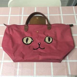 二手 Longchamp 桃紅色特別版貓貓袋