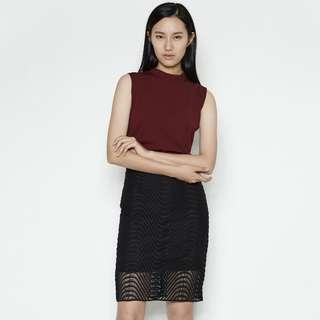 Klarra Wave Midi Skirt in Black (BNWT)