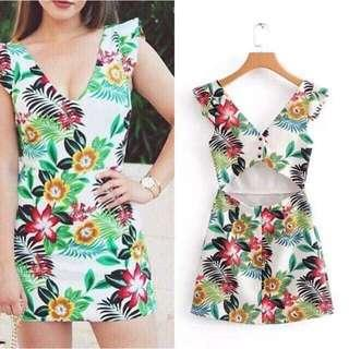 Nonsleeves Floral Dress
