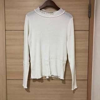 全新pazzo 超百搭捲邊白色彈性上衣(s號)