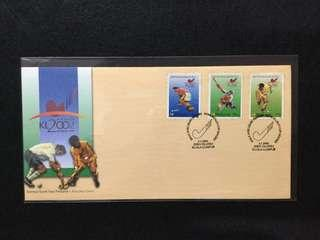2002 World Cup Hockey FDC.  Toned Spots On Edges Of Stamps & Back Of Cover