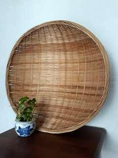 Vintage Wicker Bamboo Basket / Sieve / Tray