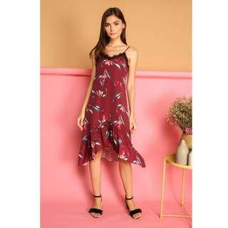 🚚 BNWT TSW Karyn Lace Ruffled Hem Slip Dress in Wine Red