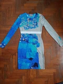 🚚 Preen Blue Print Long-Sleeved Dress