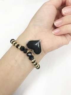 Romantic Heart Pendant Bracelet (Black)