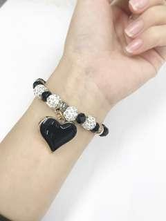Romantic Heart Pendant Bracelet(Black/White)