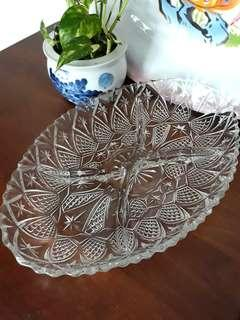Vintage Crystal Cut Glass Oval Plate / Platter / Tray With 4 Sections