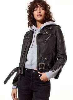 Aritzia Schott Perfecto Cropped Leather Jacket