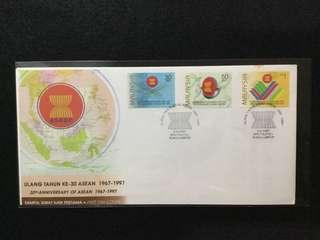 1997 30th Anniversary Of ASEAN FDC  (Note: Toned Spots On Cover)