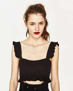 [PO] Ruffle Sleveless Crop Top