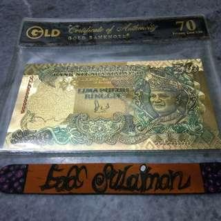 Gold banknote RM50 (colored)