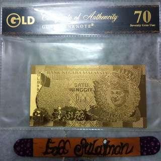 Gold banknote RM1