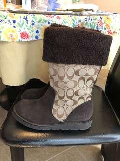 Coach monogram canvas boots