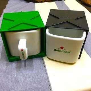 🚚 海尼根疊疊收納杯x2(白色瓷杯、塑膠盒綠、黑)