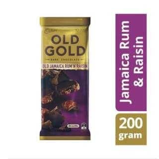 Cadbury Old Gold Jamaican Rum and Raisin Dark Chocolate Block