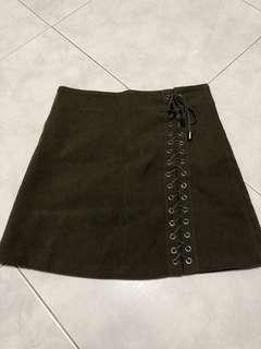 Pre-loved shoelace olive green skirt