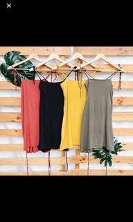 STRAIGHT NECK LINEN DRESS