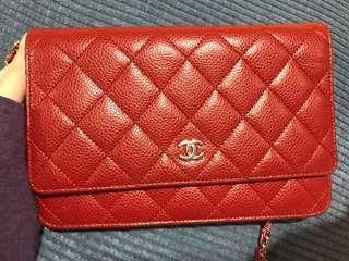 Chanel woc 紅牛皮銀鍊