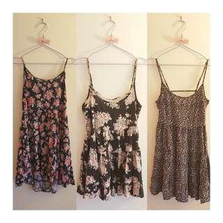 Tiered open-back floral dress set