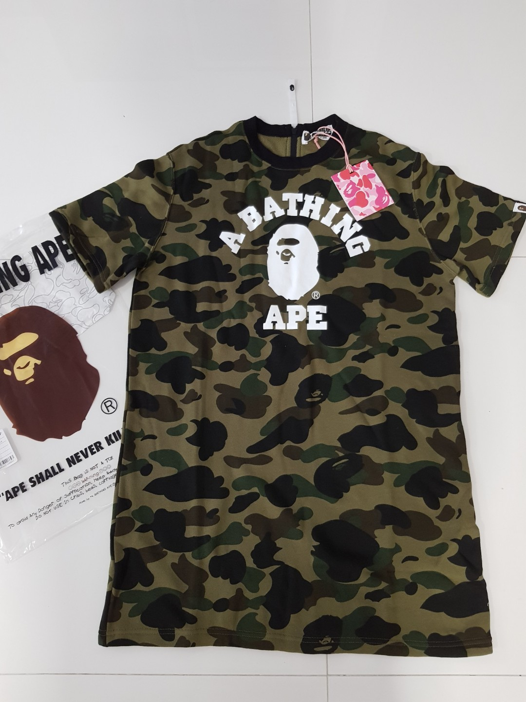 ba92677f A Bathing Ape bape camo tee t shirt dress, Women's Fashion, Clothes ...