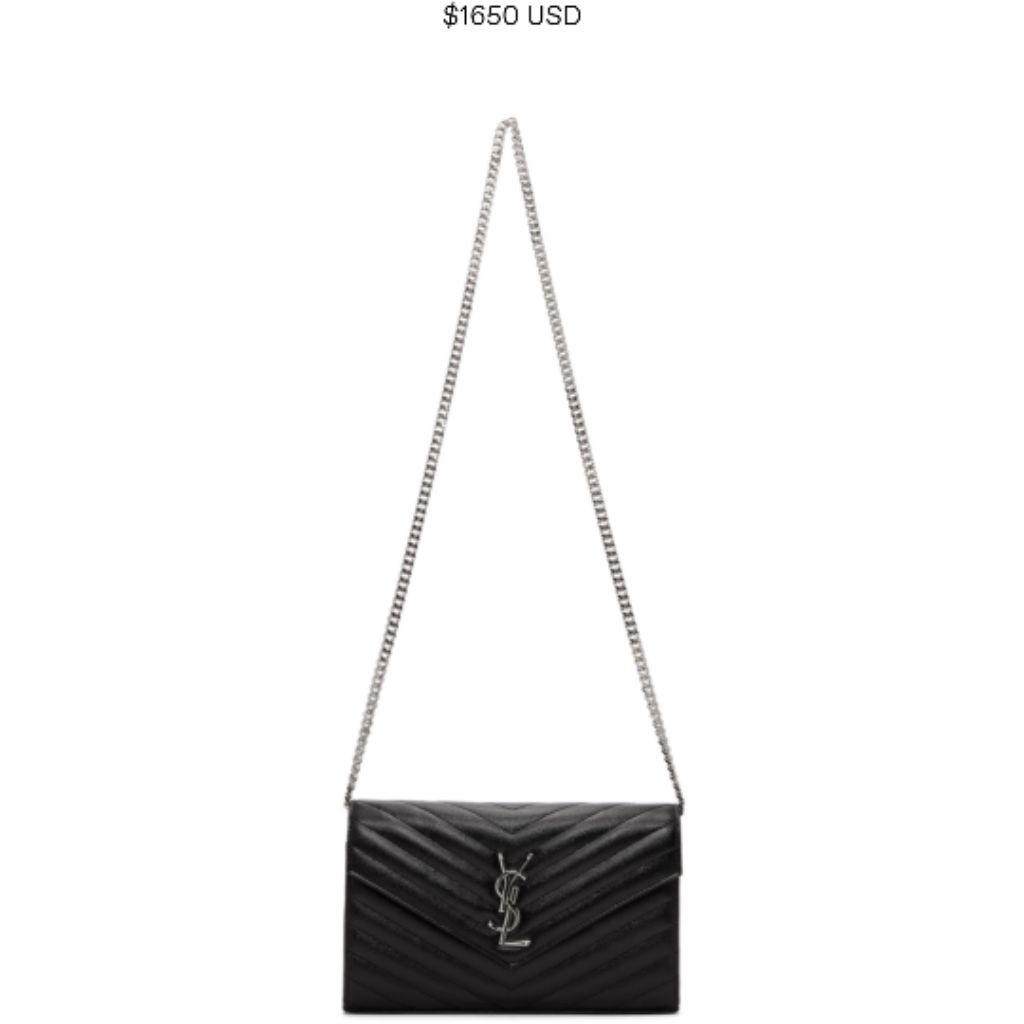 2bb57facd9b4 Authentic (Large) YSL Wallet on Chain WOC Black Silver Sling Bag ...