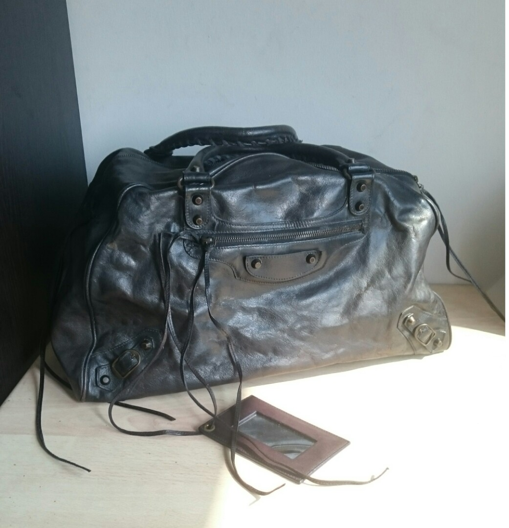 a7fa68af156f BALENCIAGA Black Leather Boston Bag with Small Mirror, Luxury, Bags ...