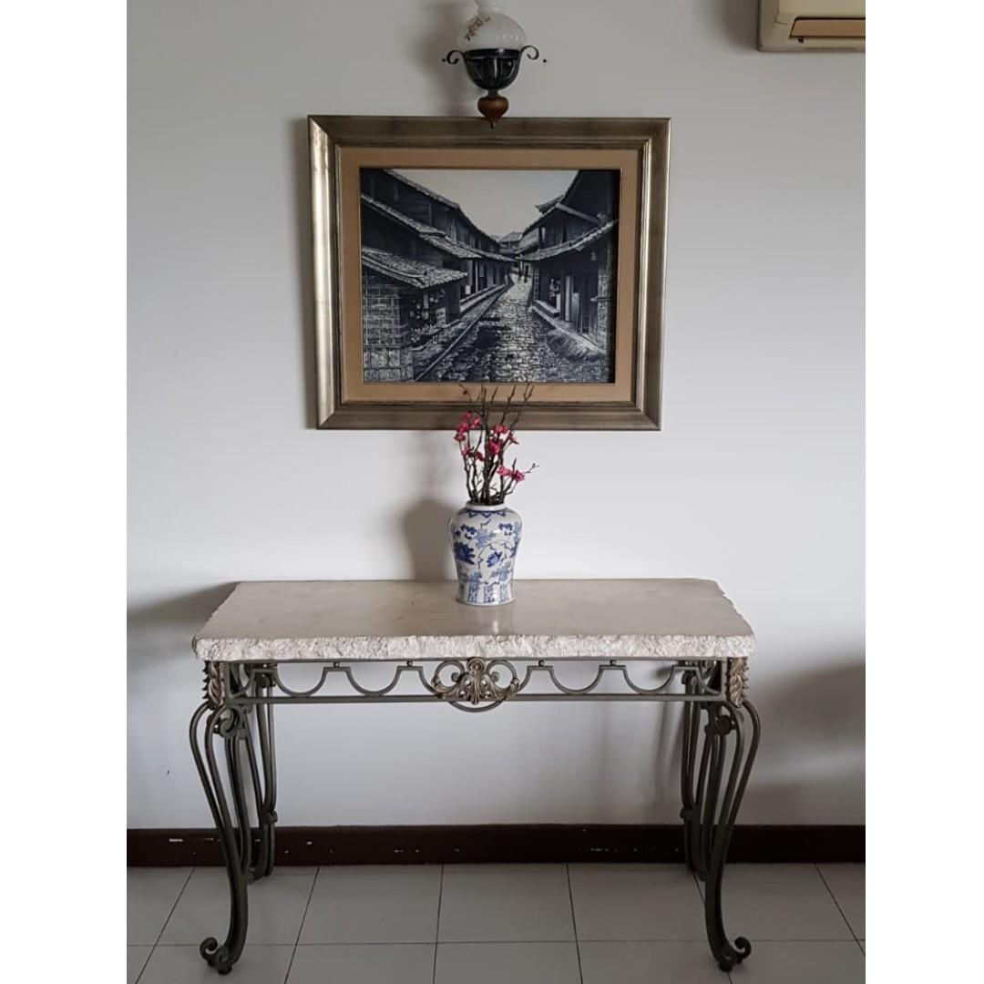 Faux Stone Console Table With Elegant Cast Aluminum Furniture Tables Chairs On Carousell
